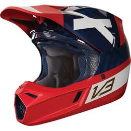 Мотошлем Fox V3 Preest Helmet Navy/Red
