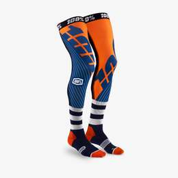 Чулки 100% Rev Knee Brace Performance Moto Socks Navy/Orange