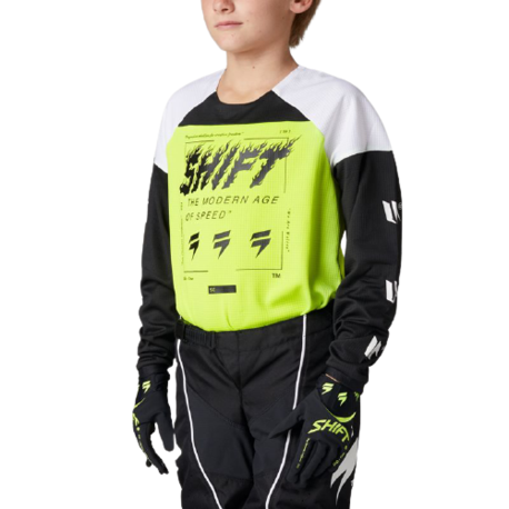 Мотоджерси подростковая Shift White Label Flame Youth Jersey Flow Yellow